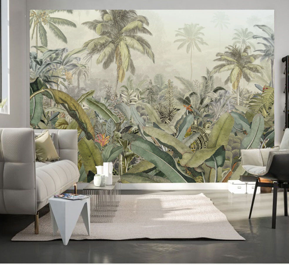 Paint Tropical Rainforest Leaf Plant Wallpaper Mural for Living Room Sofa Backaground 3d Photo Mural 3d Wall Mural Wall paper shinehome sunflower bloom retro wallpaper for 3d rooms walls wallpapers for 3 d living room home wall paper murals mural roll