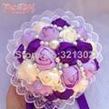 European And American Brides Holding Flowers Wedding Flowers Ornament Pearl Ribbon Wedding Bouquet De Novia Bridal Bouquets YJ01