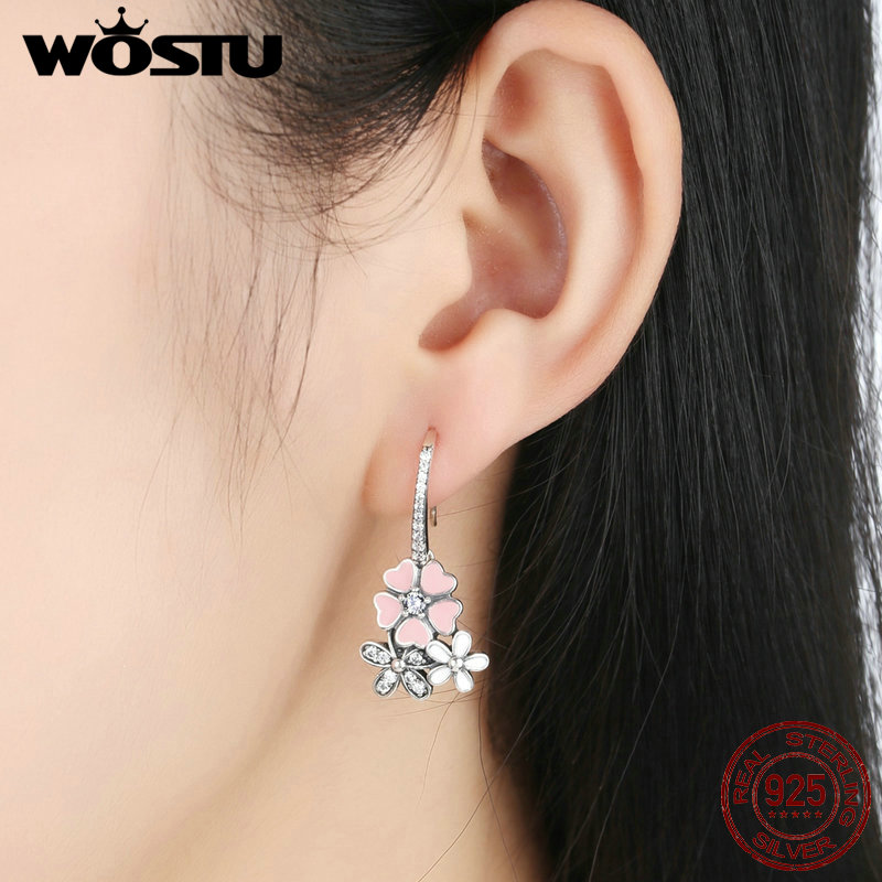 High Quality 925 Sterling Silver Poetic Daisy Cherry Blossom Drop Earrings For Women Luxury Original Fine Jewelry Gift CQE016 5