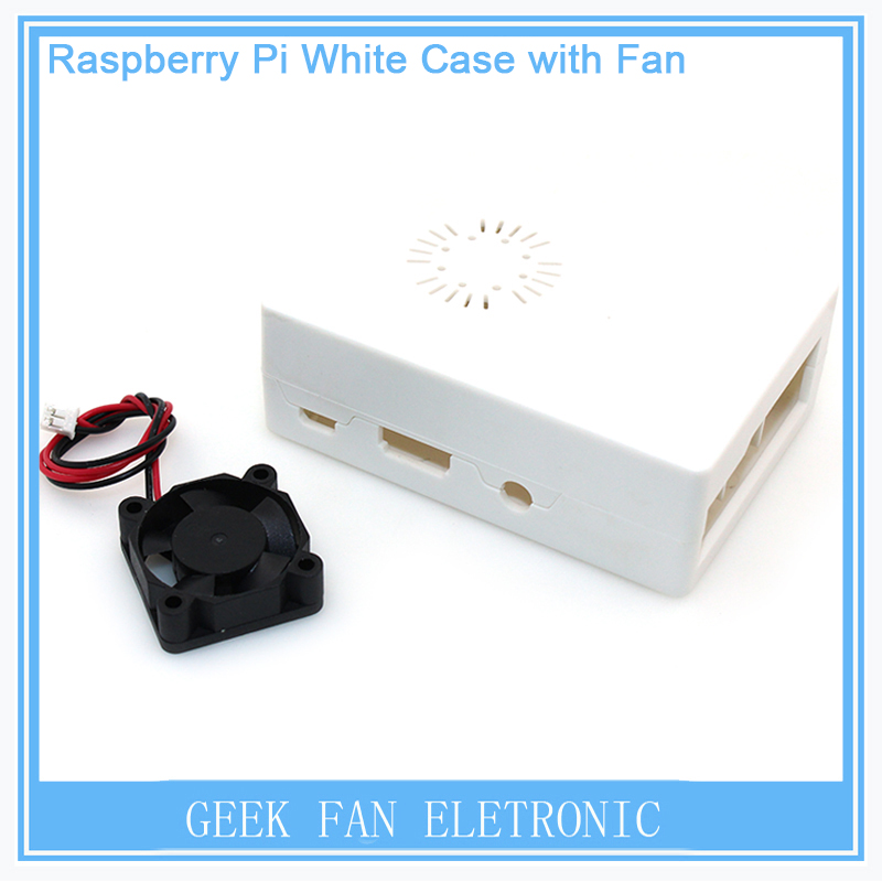 New Raspberry Pi ABS White color case Plastic Box with Fan module For Raspberry Pi 2 & Raspberry Pi model b plus &3 RP0012W