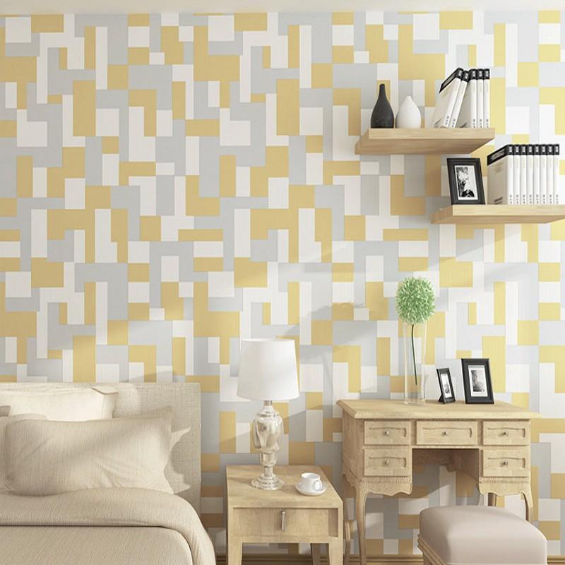 Livraison gratuite moderne 3D Nonwovens papier peint salon TV fond mur chambre chevet mosaïque papier peint