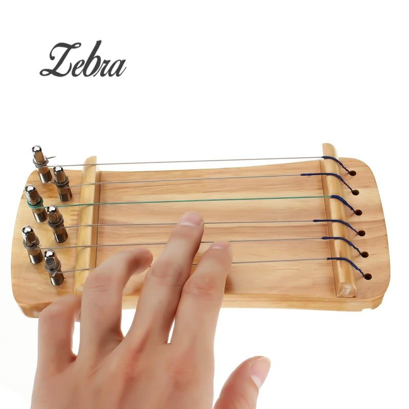 Zebra 21x9.5cm 6 Strings Wooden Strengthen Muscle Hand Finger Trainer Hand Grip Exerciser for Bass Guitar Ukulele Piano Player