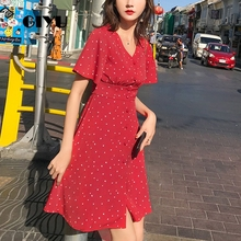 GIYU Summer Women V Neck Short Dress Holiday Mini Dresses Heart Printing Vestido with Buttons Sexy High Waist robe femme giyu summer flower printing women long chiffon dress holiday bohemia dresses long sleeve vestido sexy high waist robe femme
