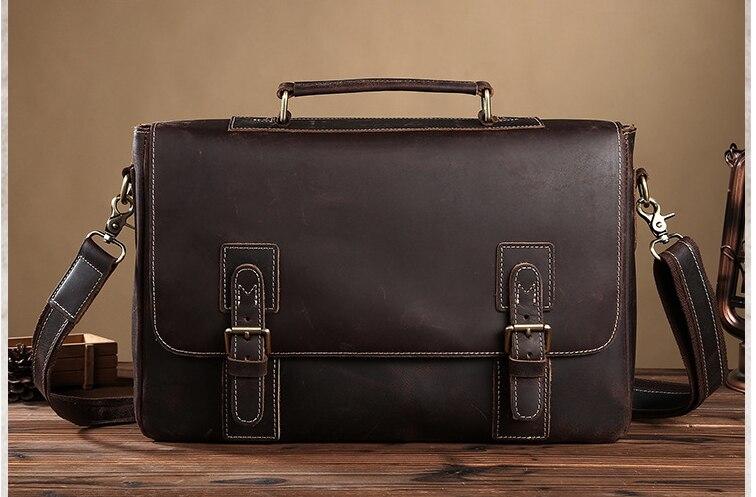 Retro Men Crazy Horse Genuine Leather Briefcases Male Shoulder Cross Body Business Laptop Handbags Messenger Satchels D827