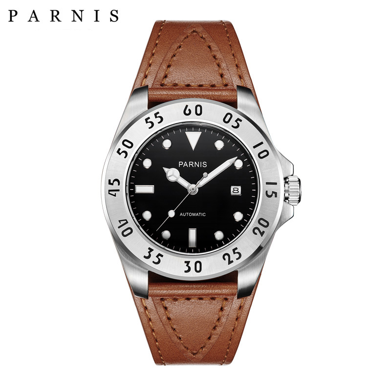 Parnis 43mm Watch Men Casual Leather Automatic Mechanical Watches Sapphire Crystal Watch PA6028 Men Present