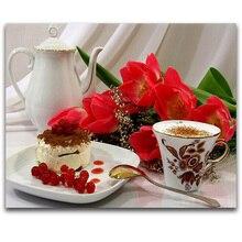 Diy Алмазная картина Кофе Торт цветы украшение дома 5d алмазная вышивка рукоделие Алмазная мозаика кухня наклейки на стену