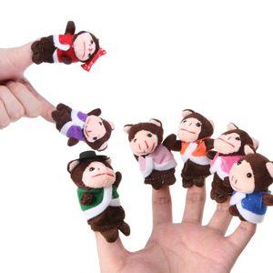 7 sztuk Cartoon zwierząt lalki małpy Finger Puppets zestaw mały pluszak Boys Baby dziewczyny historia opowiadanie ręcznie robiona tkanina lalki edukacyjne zabawki