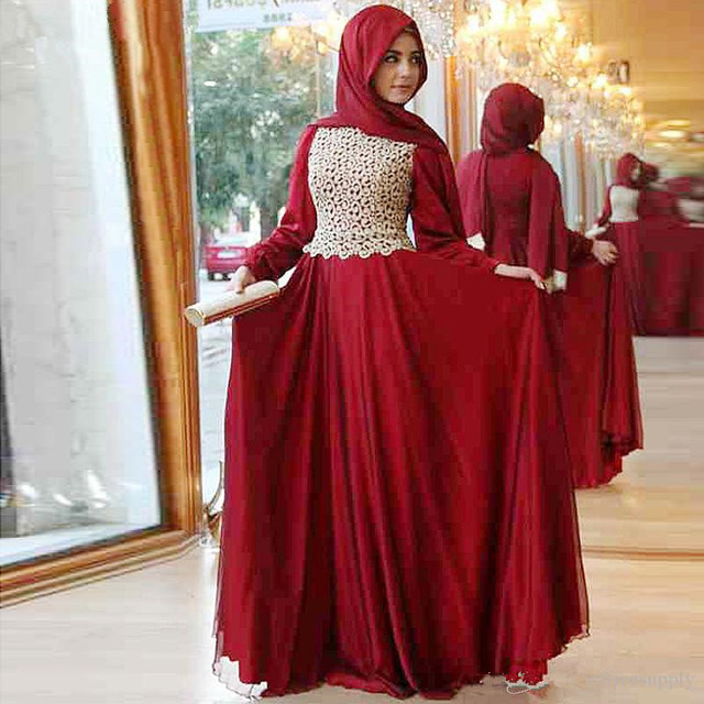Elegant Long Sleeve Wedding Dress Muslim Dress 2017 Simple: 2017 New Design Hijab Evening Dress Long Sleeve Red Lace