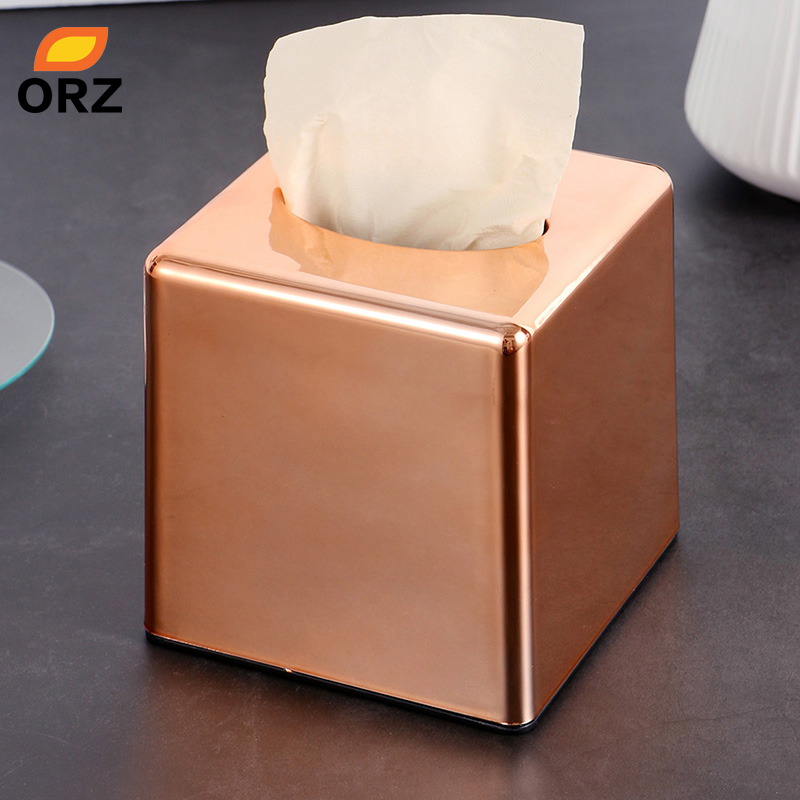 Orz Square Roll Paper Box Home Office Car Tissue Holder Rose Gold Napkin Canister Cover Kleenex Ficial Case In Bo From
