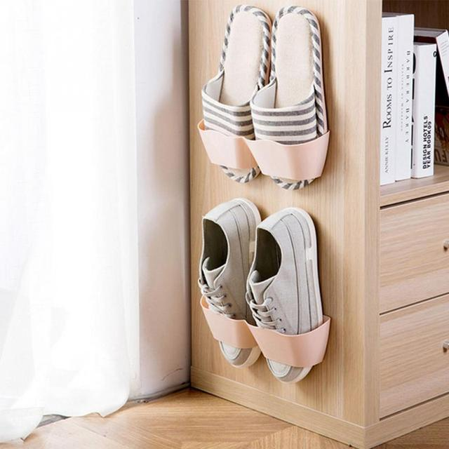 Wall Sticking Shoes Hanging Rack Dust Proof Shelves Plastic Shoe Storage  Organize Stand Cabinet Living Room