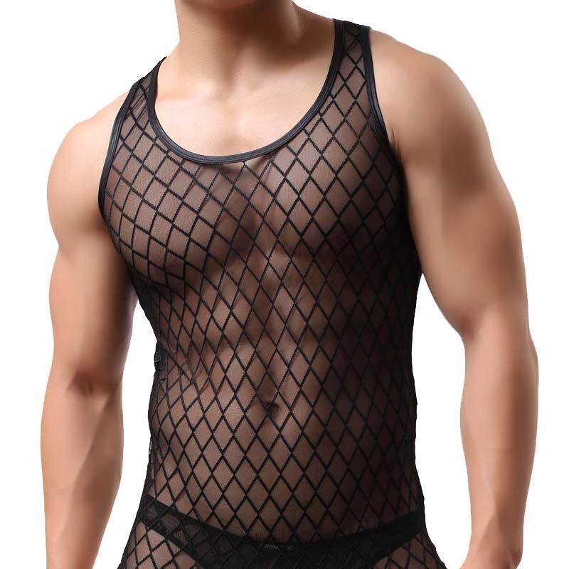 Hartig Mode Mesh Mannen Sexy Tank Tops Visnet Zien Door Mouwloze Gay Grappige Sheer Vest Singlets Hemdjes
