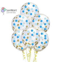 6Pcs Blue Confetti Balloon Boy Baby Shower Birthday Party Decorations Kids Gold Round Latex Toys Gifts