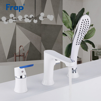 Frap Bathroom Shower Faucets Three piece Bathtub Faucet Bath Shower Set Waterfall Bath Faucet Shower Mixer System Tap F1134F1146