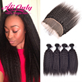 Cheap Kinky Straight Malaysian Virgin Hair With Closure 13x4 Lace Frontal With Bundles Alionly Human Hair 4 Bundles With Closure