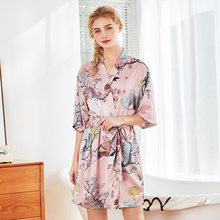 Roseheart Spring Pink Red Luxury Fashion Sleepwear Faux Silk Nightwear Sexy Mini Robes Pajama Printed Woven Plus Size Bathrobe