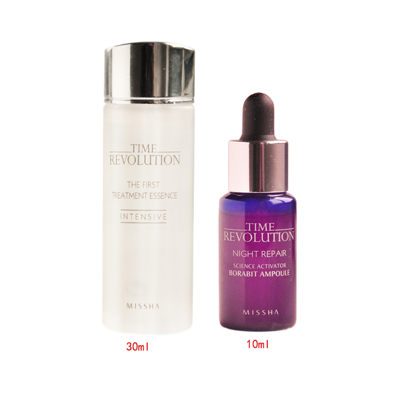 MISSHA Time Revolution Best Seller Trial Set ( First Treatment Essence 30ml + Night Repair Borabit Ampoule 10ml ) Facial Serum