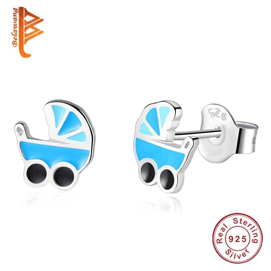 Brillant Belawang 925 Sterling Silber Nette Schmuck Blau Emaille Baby Kinderwagen Stud Ohrringe Für Frauen Kinder Brincos Schmuck Mädchen