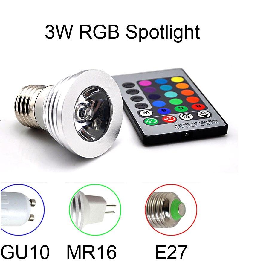 1Pcs 16 Colors Dimmable GU10 RGB LED lamp 110V - 220V 3W With 24 Keys Remote Controller Spotlight Bulb Decorative Night light
