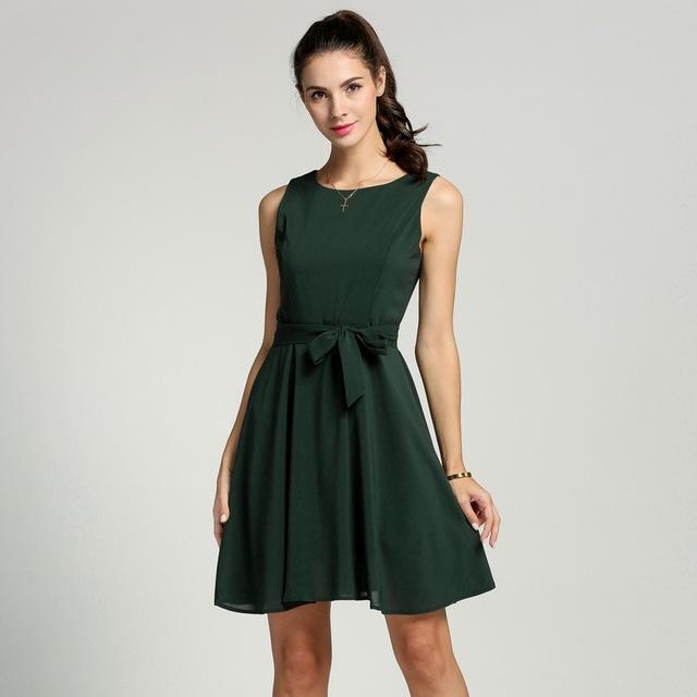 Meaneor Women Chiffon 13 Solid colors Summer Pretty Vestidos Famale elegant Pleated Dress Sleeveless Vest mini Dress With Belt