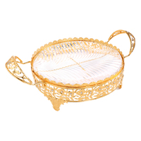 1 Piece Metal Crystal Serving Tray Golden Pattern Decorative Wedding Party Supplies Compote Cakes Desserts Fruits