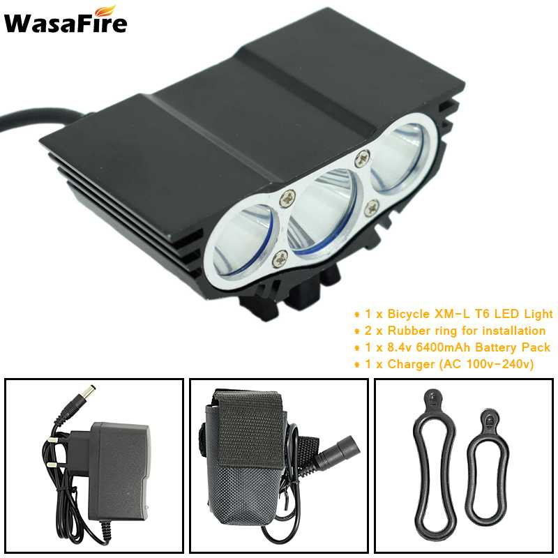 WasaFire 3 * XML-T6 Bicycle Headlight 5000 Lumen Power 8.4V 6400mAh Battery Pack 4 X 18650 Rechargeable 4 Modes + Charger sitemap 143 xml page 3