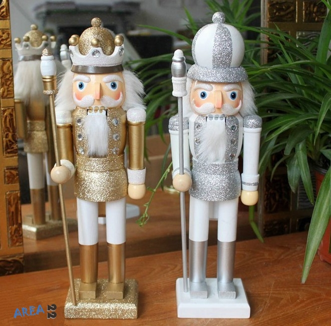 35cm Gold Silver Nutcracker Wood Made Christmas Ornaments
