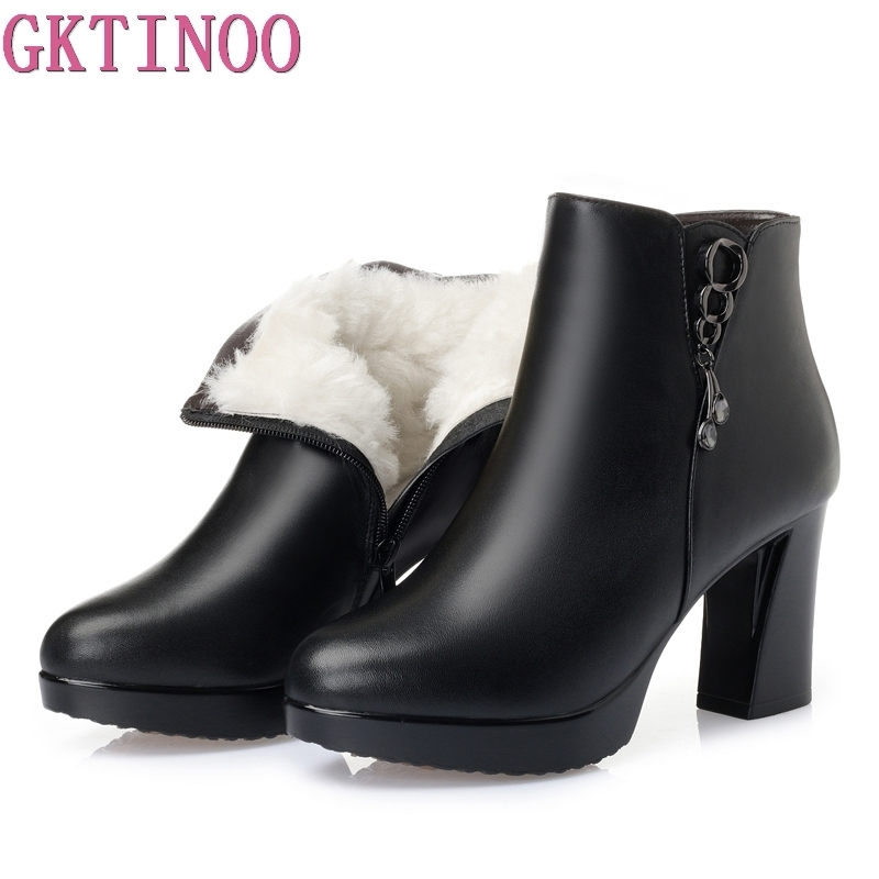 GKTINOO 2018 Winter New Warm Wool Ankle Boots 100% Genuine Leather Plush Snow Boots Women Platform High Heels Shoes Martin Boots