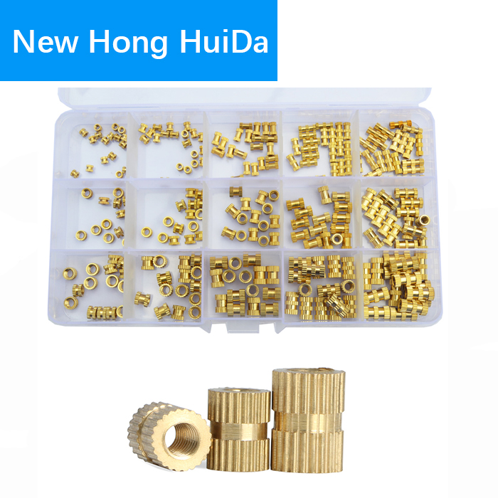 Brass Knurled Nut Female Thread Insert Embedment Cylinder Injection Molding Assortment Kit,250pcs M2 M3 M4 цены