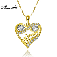 AINUOSHI 10K Solid Yellow Gold Pendant Twisted Heart Pendant SONA Diamond Women Jewelry Mother's Day Gifts 2.0g Separate Pendant