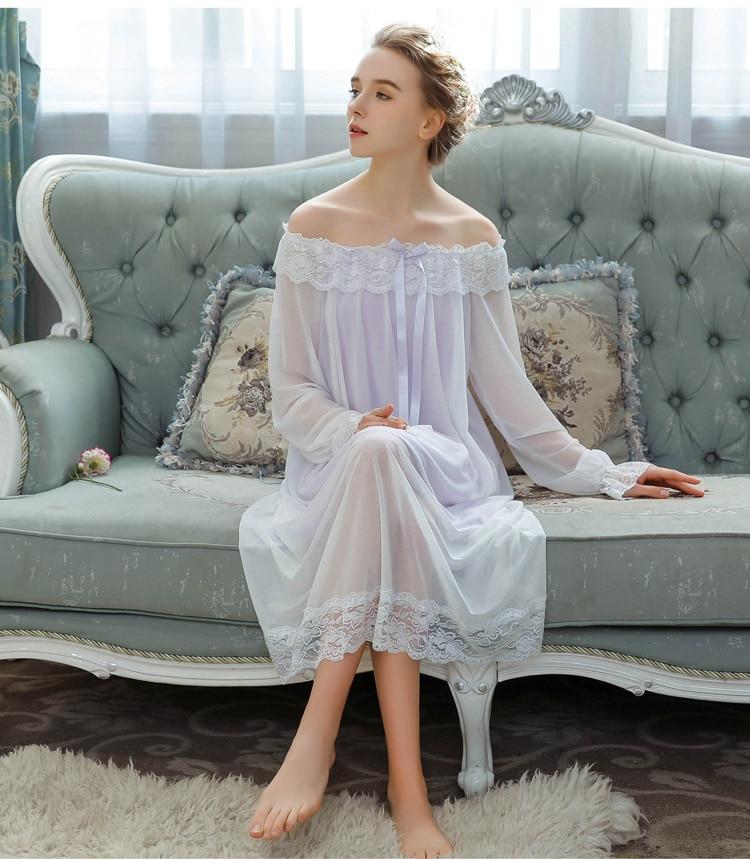 Slash neck Lace Trimming Women Nightdress Princess Pyjamas ...