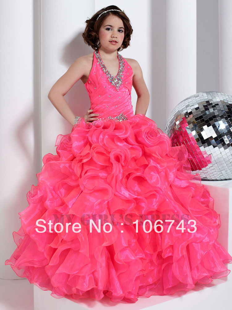 free shipping 2016 hot sell Ball gown Dance Party Princess Gown Formal Wedding red organza   Flower     Girl     Dresses   pageant   dresses