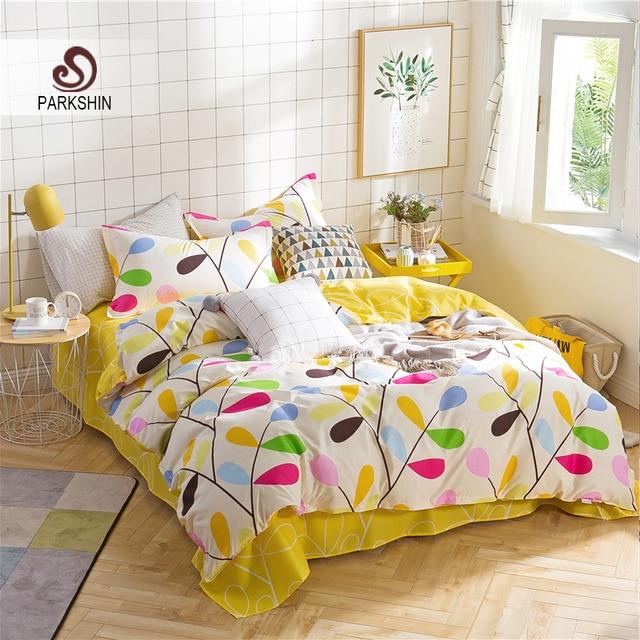 Parkshin Yellow Bedding Set Comforter Nordic Duvet Cover Bedspread Double Bed Sheet Linens Twin Queen King Bedclothes