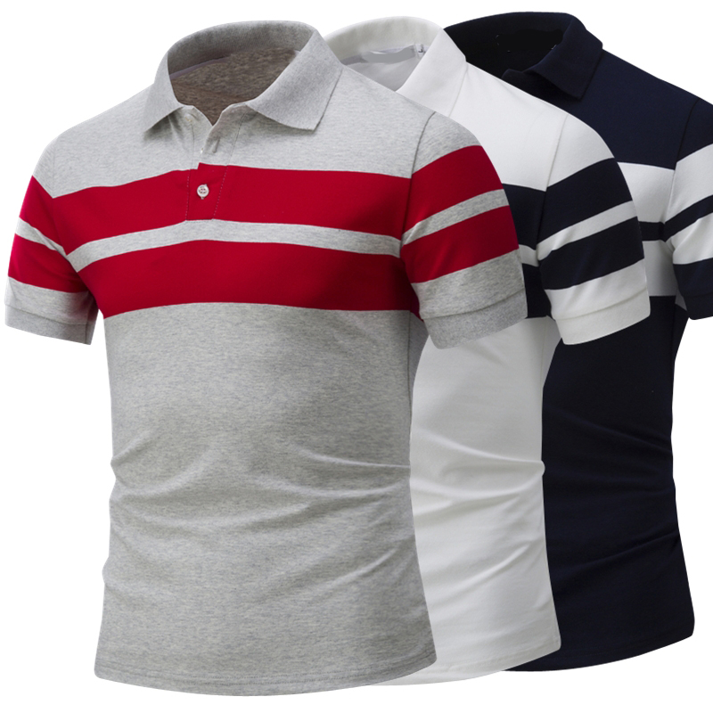 Men's Polo Shirt Mens Business Casual Breathable Striped Short Sleeve Polo Shirt Pure Cotton Fashion Slim Shirts Tops Tees