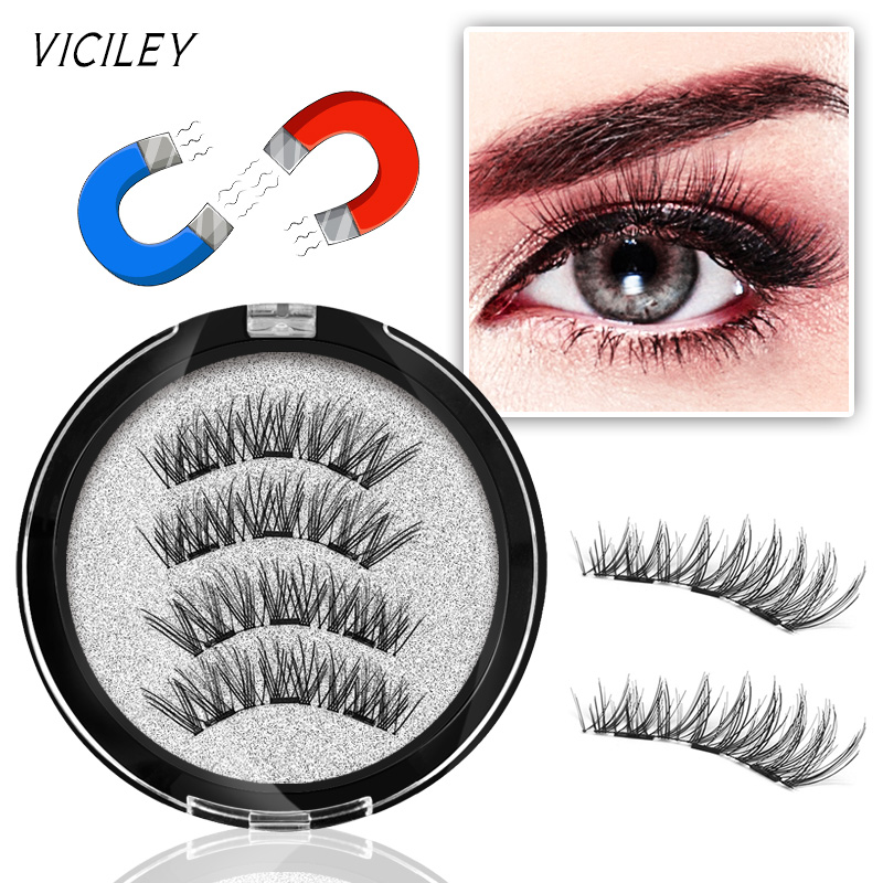 fe3ec8a78e1 VICILEY 3 Magnets 3D Magnetic Eyelashes Natural Long Magnetic False Eyelash  Handmake Magnet Eye Lashes Makeup Kit Gift KS07-3