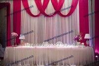 3x6 м Sheer Свадебные занавес с Fuschia простыня свадебный фон с Swag шифон фон белого цвета свадебные украшения