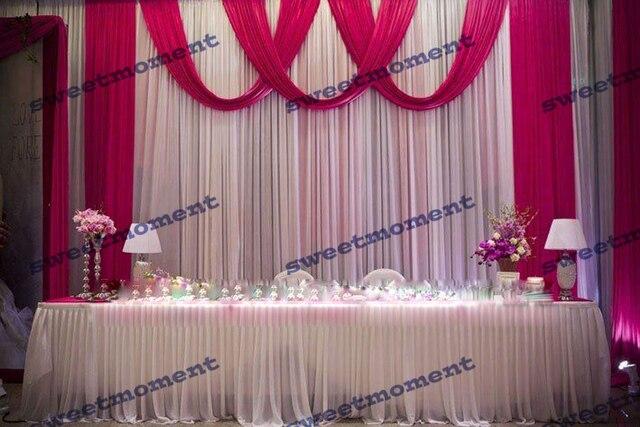 3x6m Sheer Wedding Curtain With Fuschia Drape Backdrop Swag Chiffon White Color