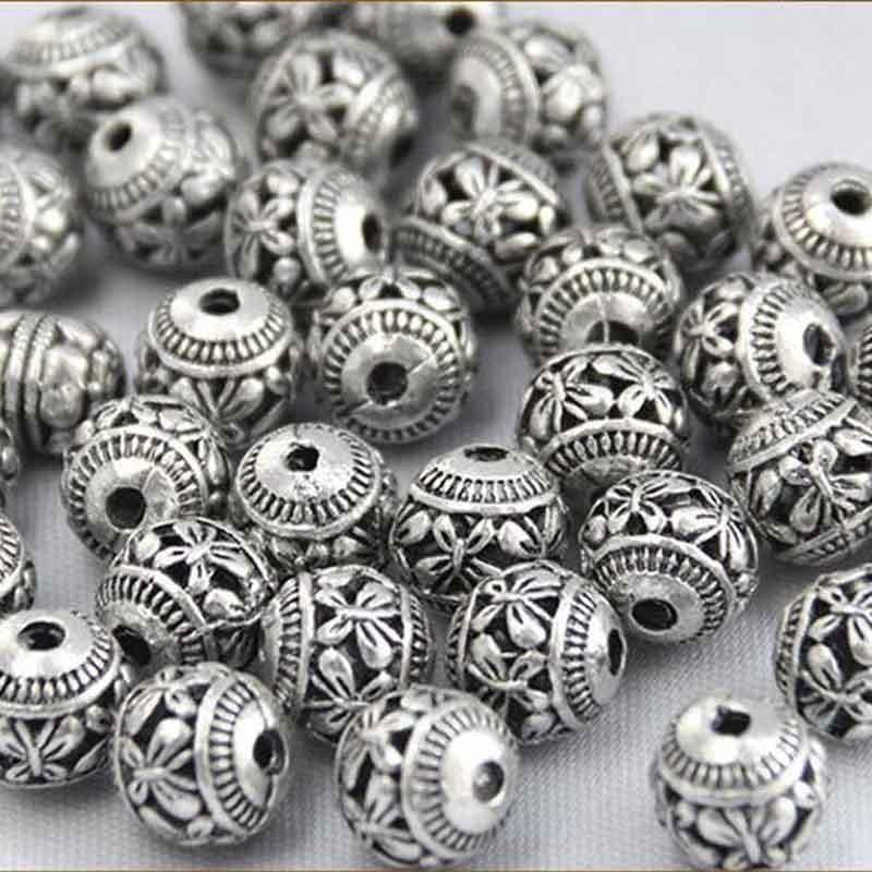 6//30//100pcs Tibetan Silver Bulk Big Hole Snow European Charms Beads Craft New