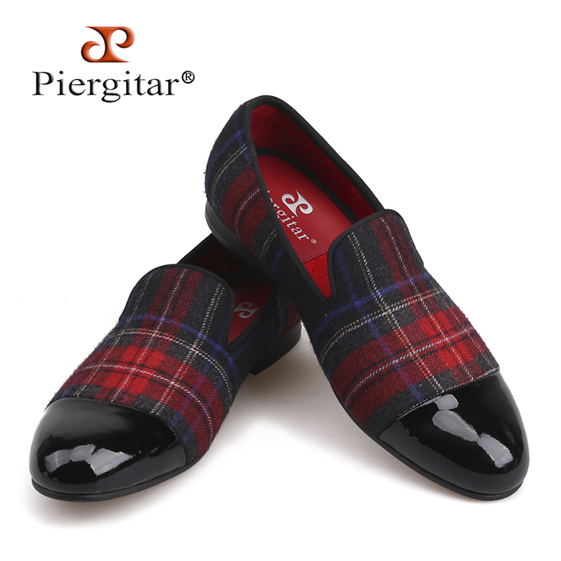 Piergitar new Handmade men loafers with gingham designs and black leather toe wedding and party slip on men smoking slippers