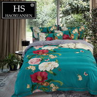 Natural Egypt Cotton Satin Sanding Bedding Set 4pcs Flower Print Quilt Cover Sheet Pillowcase Queen King Size Soft Warm Bed Set