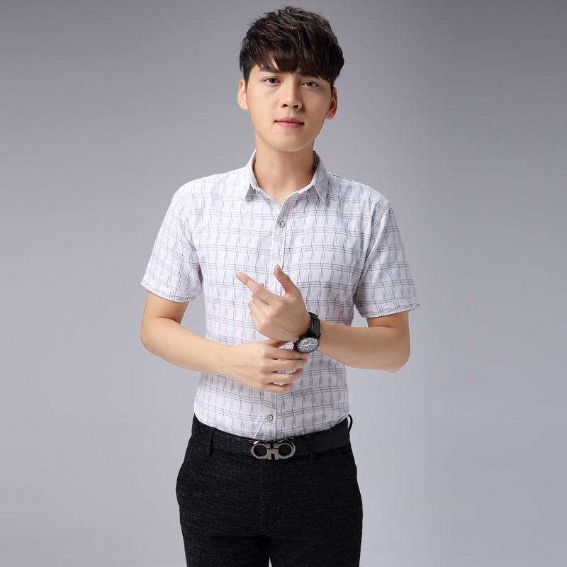 Korean Style Fashion Mens Office Shirt Short Sleeve 2017 New Business Shirts Slim Fit Camisa Men Blouses Plaid Cotton In Dress From S