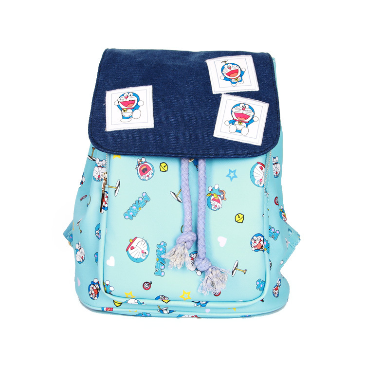 Anime Doraemon Cartoo fashion Leisure man woman Preppy style schoolbag PU cute bag travel blue Doraemon sweet Backpack fashion denim backpack preppy style casual shoulders double shoulder bag schoolbag style blue x 59966