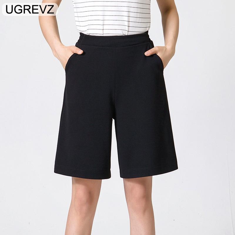 UGREVZ 2018 Summer Women Casual Black White Short Wide Leg Pants Fashion Loosely Casual High Waist Short Plus Size 2xl 3xl 4Xl