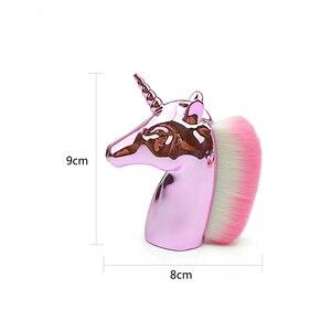 Image 3 - Unicorn Makeup Brushes Unicorn horse Rainbow Holder For Powder Foundation Blush Contour Big Make up unicornio pincel Beauty Tool