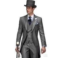 Для отдыха Повседневное костюм идеальный мужской костюмы остроконечные нагрудные one Button серый дружки смокинги Костюм для жениха (куртка + б