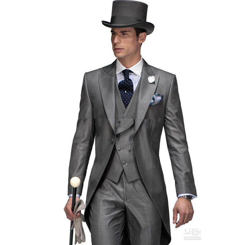 Leisure Casual Suit Perfect Male Suits Peaked Lapel one Button Gray Groomsman Tuxedos Wedding men Suits(Jacket+Pants+vest)