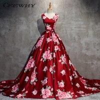 CEEWHY Floral Bedruckte Ballkleid Burgund Lange Abendkleider Prom Kleider Luxus Formal Abendkleid Vestido de Festa