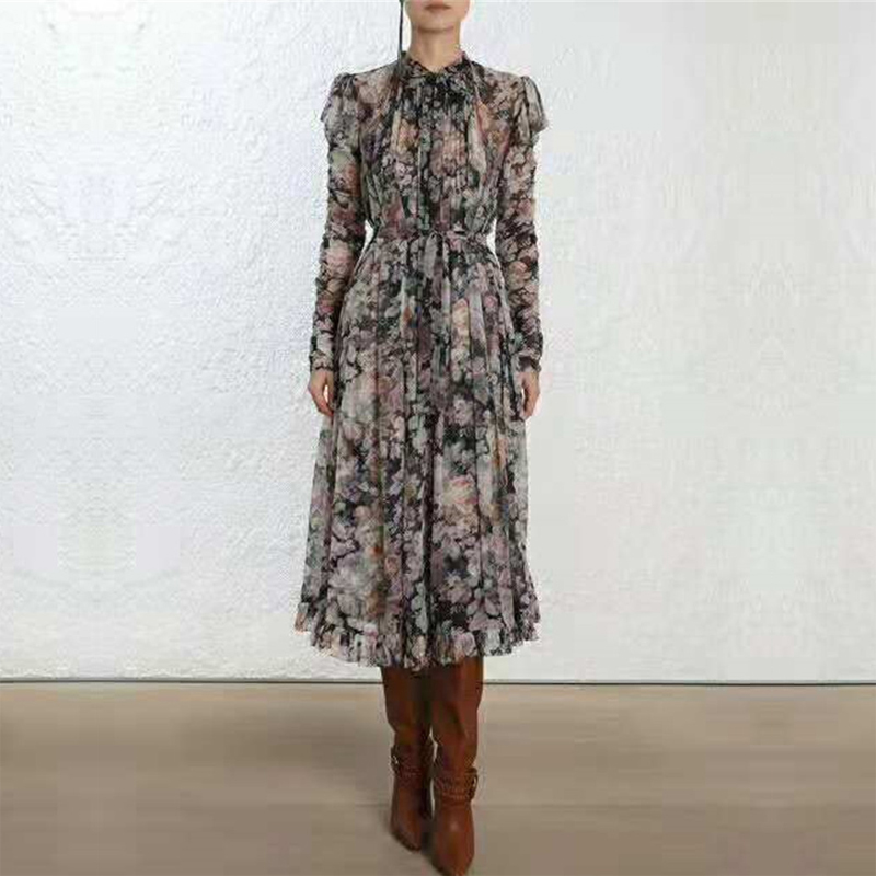 Luxury Brand Runway Designer Zim Floral Print Bandage Woman Dress 2018 High Quality Autumn New Arrival Elegant Woman Dress