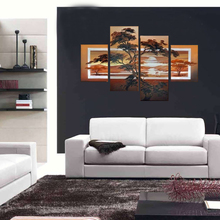 Waterfall Modern Wall Art Canvas Set Of 4 Size 3 Sz FRAMED Choice Clock