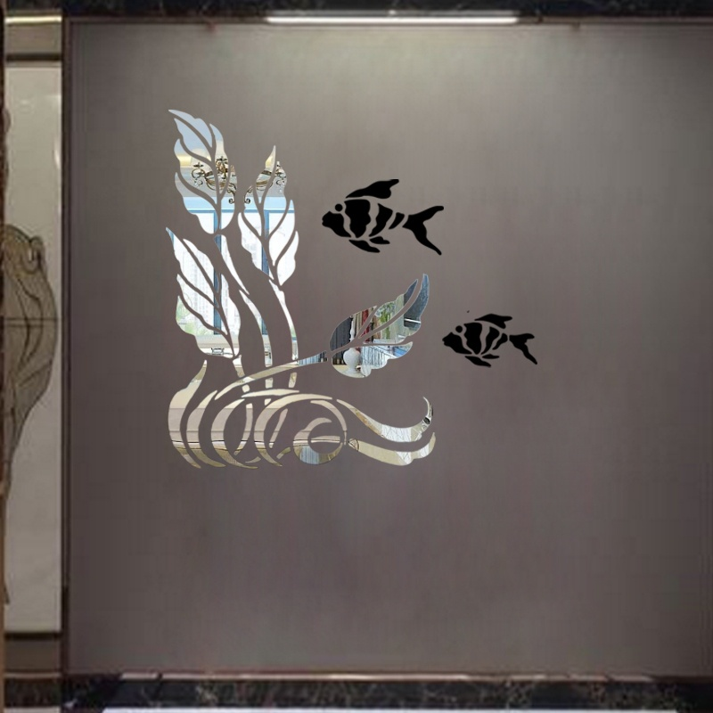 Plant and fish decorative mirror wall sticker , 3D acrylic ...