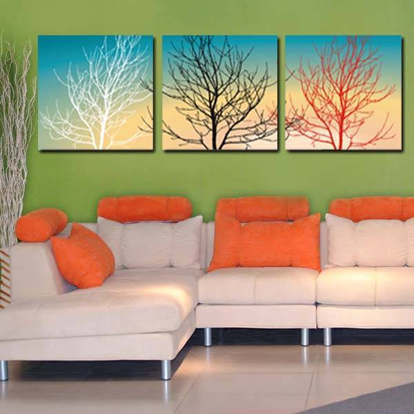2016 New Direct Selling Square Frameless Canvas Painting Oil Painting 3PCS Modern Tree Canvas Wall Art Home Decorate Paintings